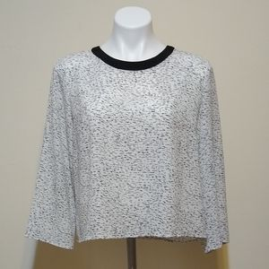 Rose & Olive | Black and White Speckled Blouse